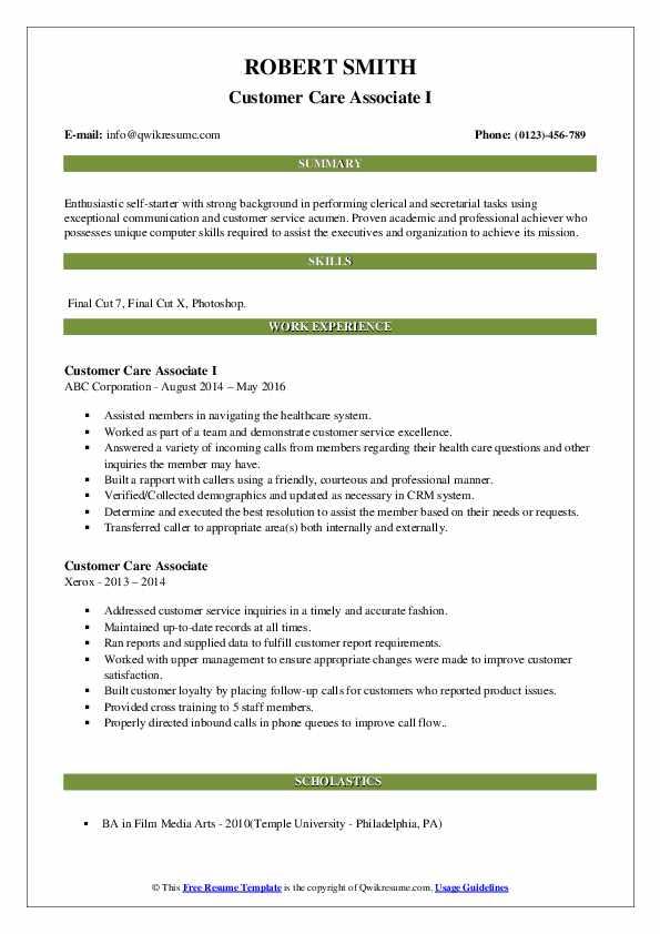 Customer Care Associate I Resume Model