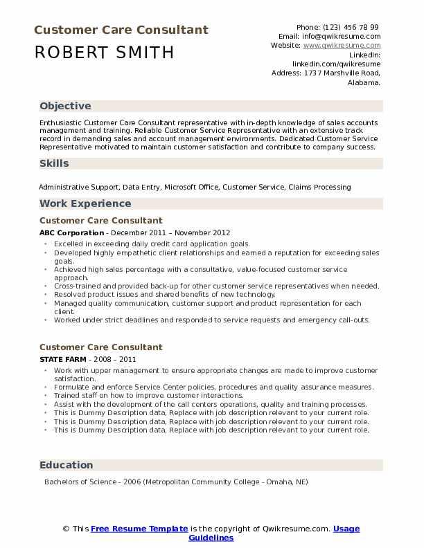 Customer Care Consultant Resume example