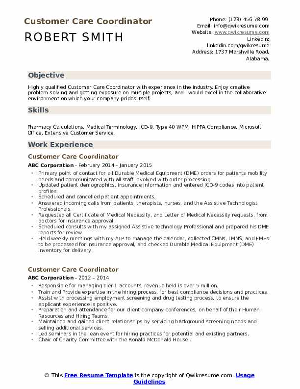 Customer Care Coordinator Resume Sample