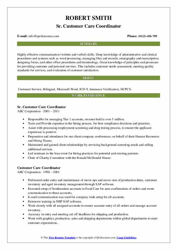 Sr. Customer Care Coordinator Resume Example