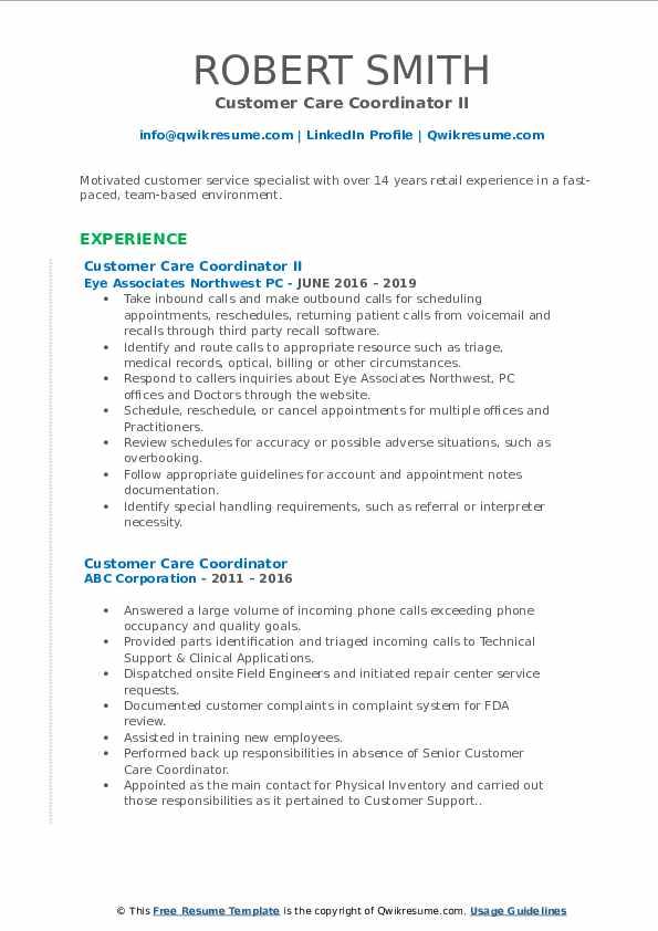 Customer Care Coordinator II Resume Example