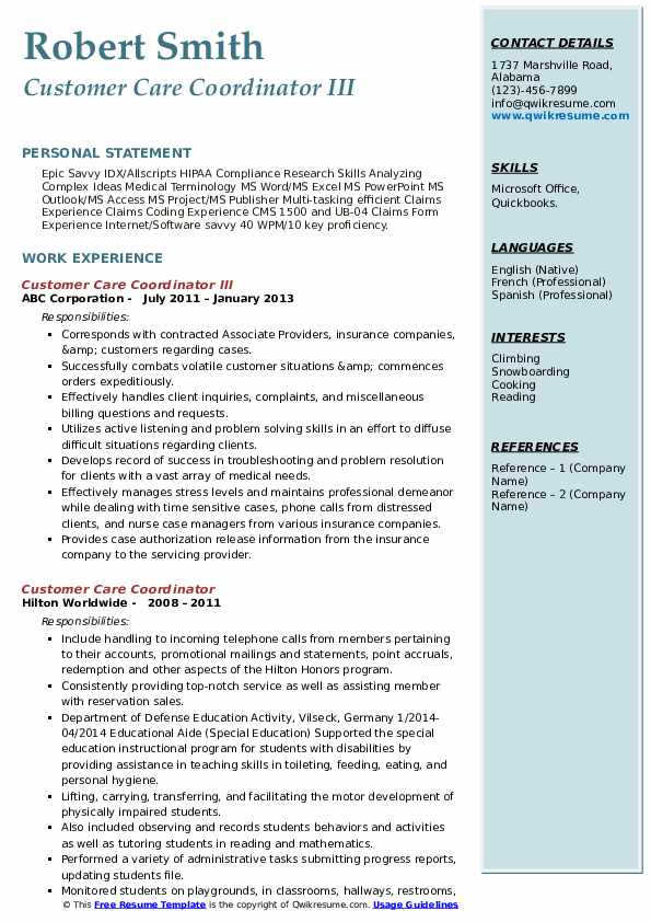 Customer Care Coordinator III Resume Format
