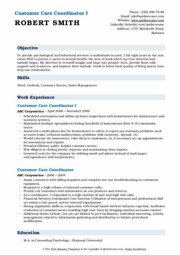 Customer Care Coordinator I Resume Example