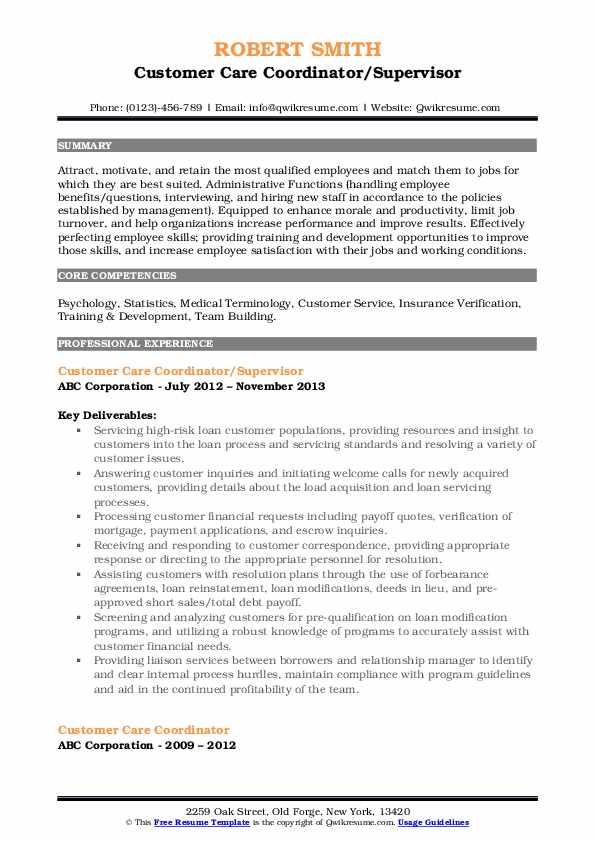 Customer Care Coordinator/Supervisor Resume Template