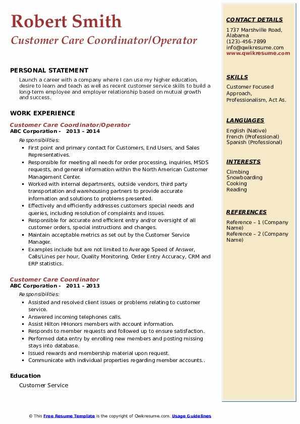Customer Care Coordinator/Operator Resume Template