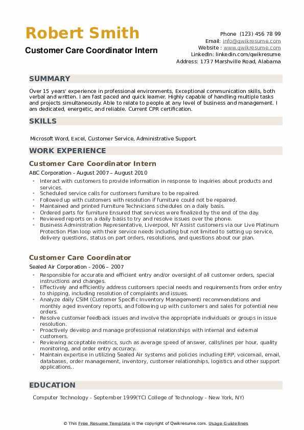 Customer Care Coordinator Intern Resume Model