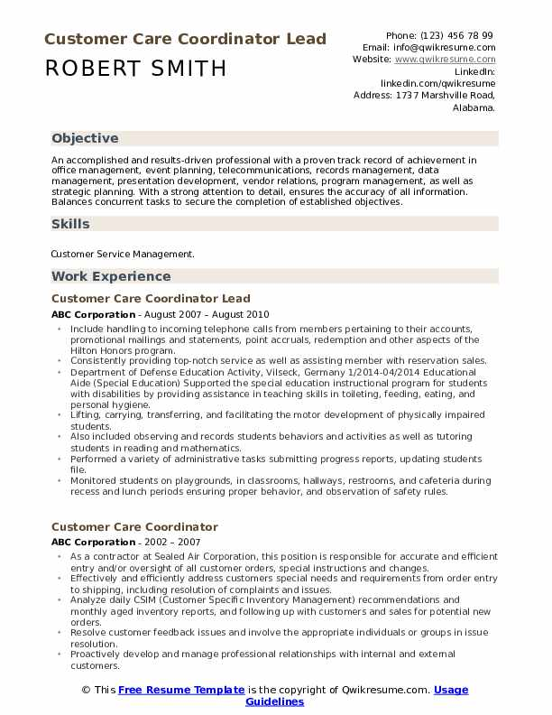 Customer Care Coordinator Lead Resume Format