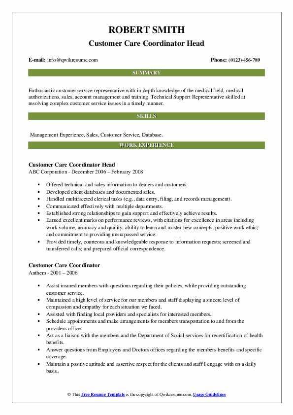 Customer Care Coordinator Head Resume Example