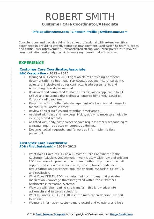 Customer Care Coordinator/Associate Resume Format
