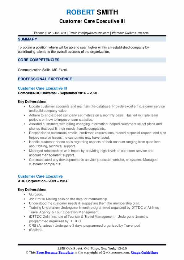 Customer Care Executive Resume Samples Qwikresume