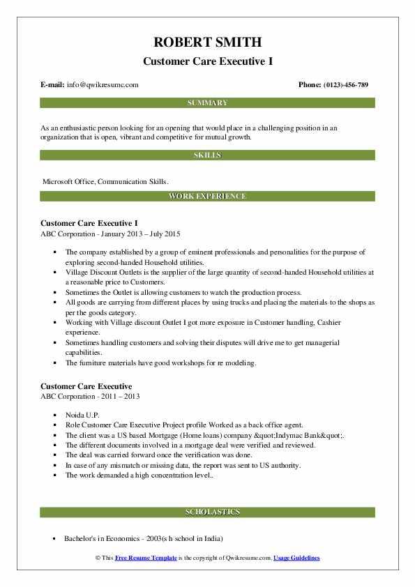customer care executive resume samples  qwikresume