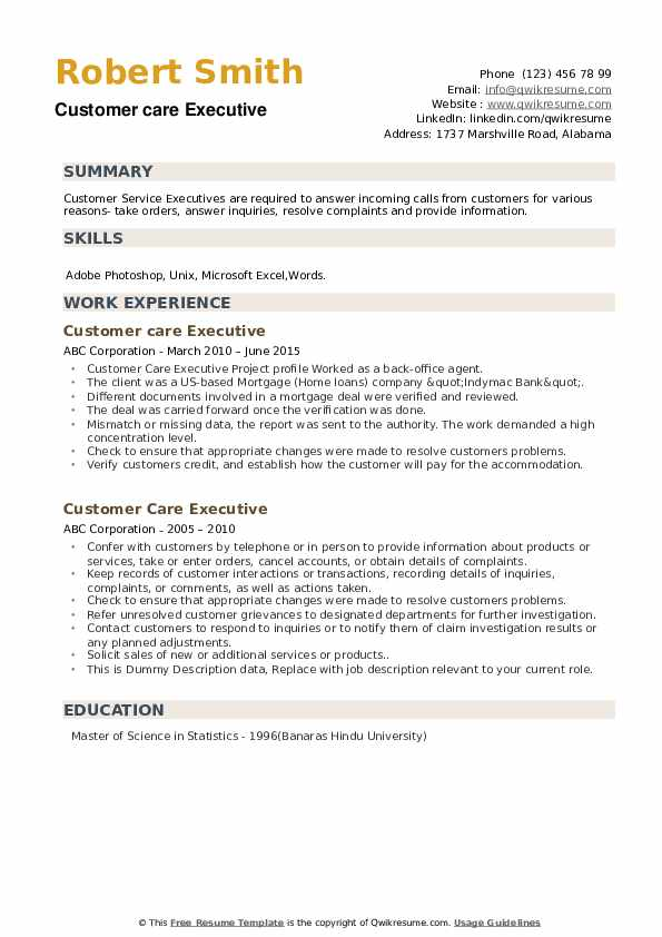 Customer Care Executive Resume example