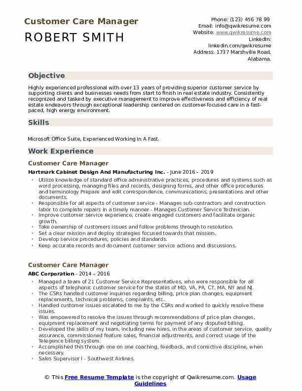 customer care manager resume samples