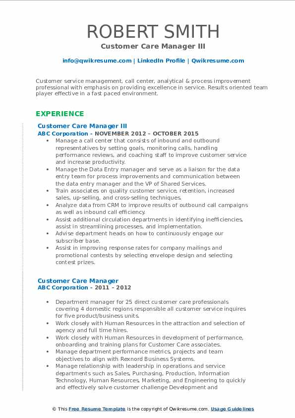 Customer Care Manager III Resume Template