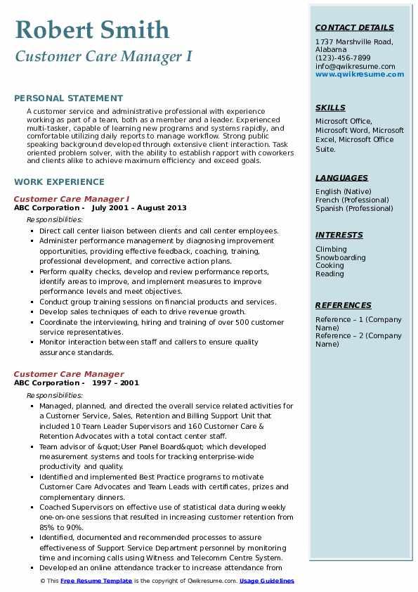 Customer Care Manager I Resume Model
