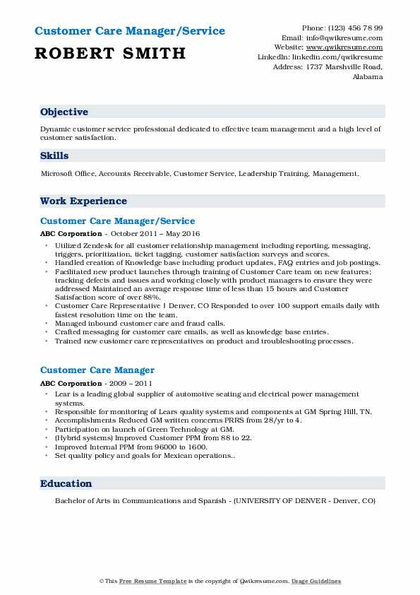 Customer Care Manager/Service Resume Template