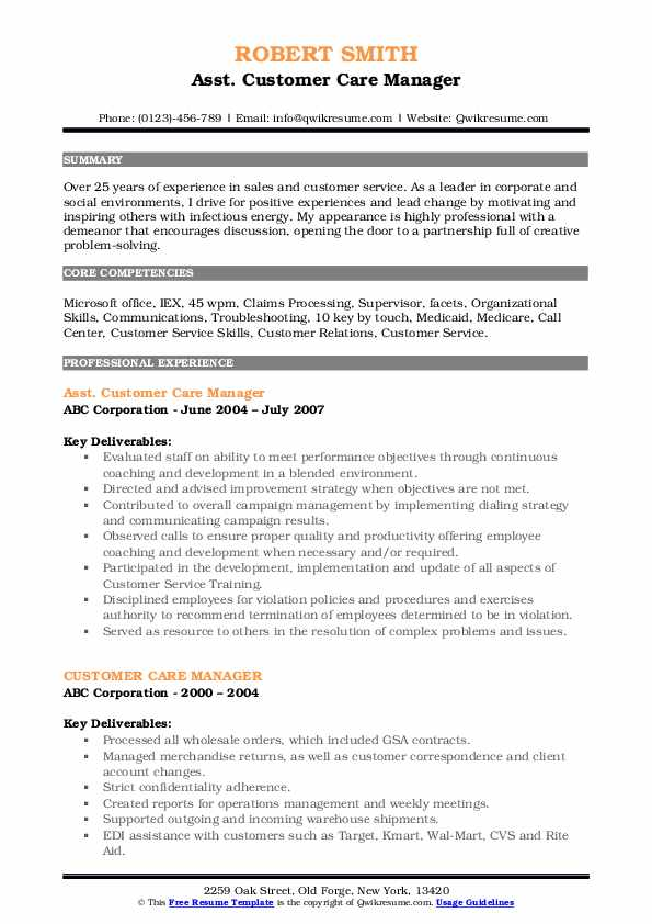 Asst. Customer Care Manager Resume Model