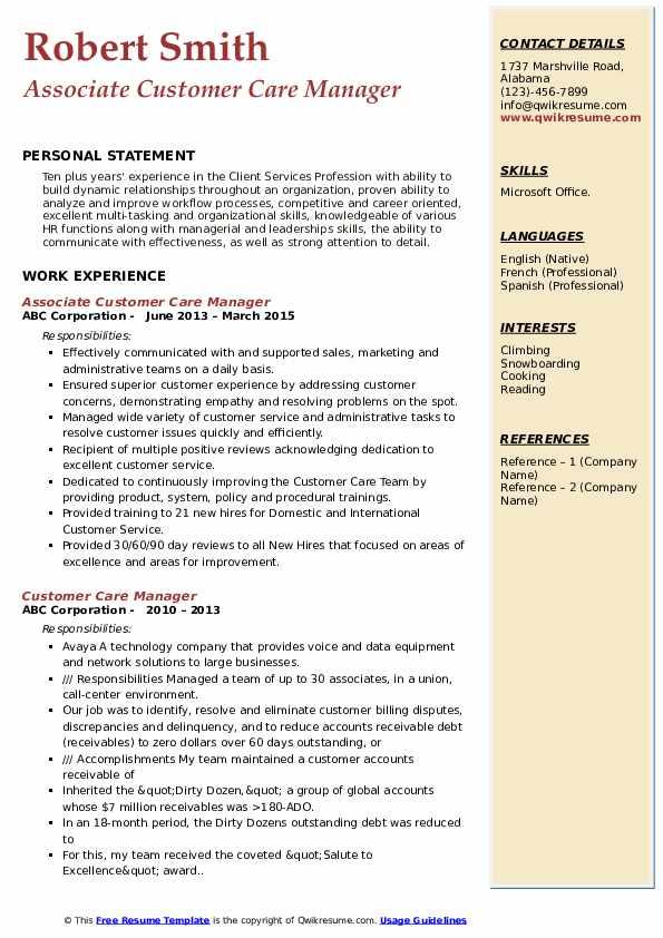 Associate Customer Care Manager Resume Sample