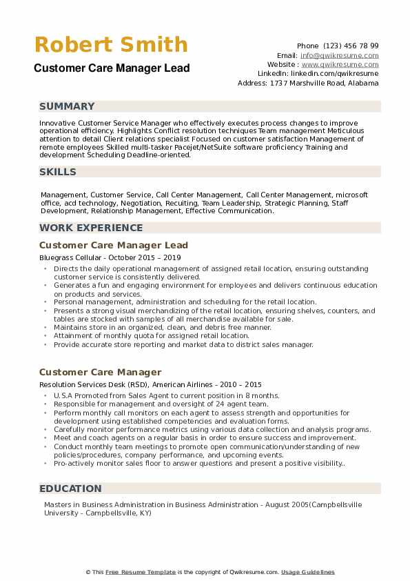 Customer Care Manager Lead Resume Example