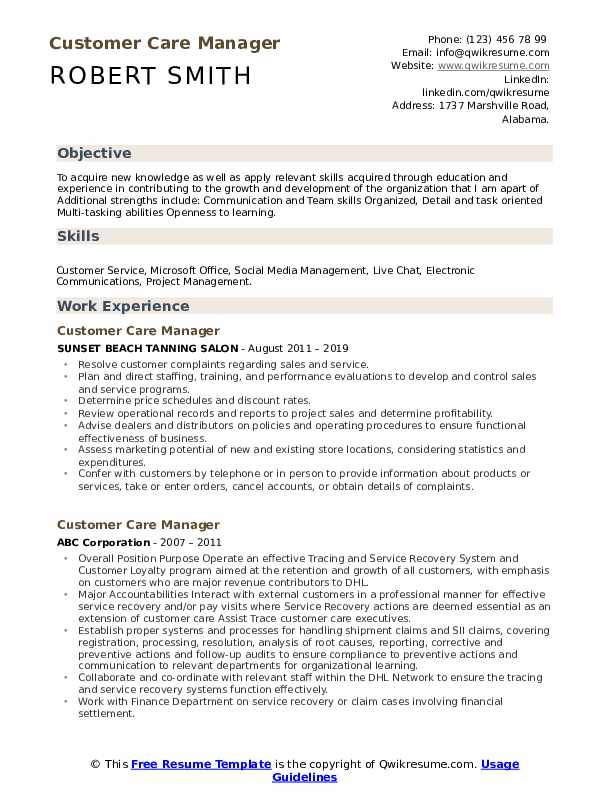 Customer Care Manager Resume example