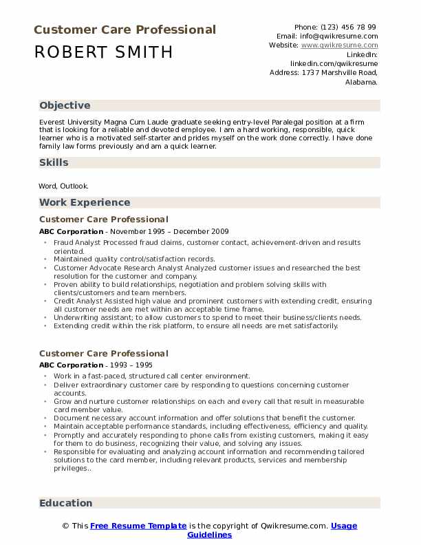 Customer Care Professional Resume Model