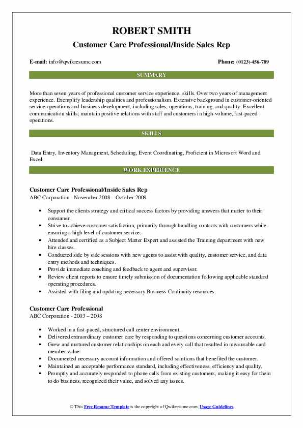 Customer Care Professional/Inside Sales Rep Resume Template