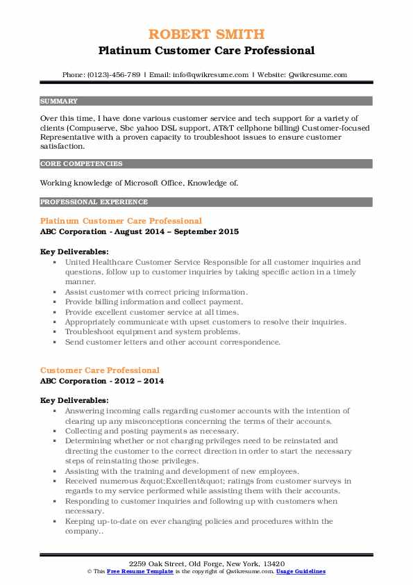 Platinum Customer Care Professional Resume Format