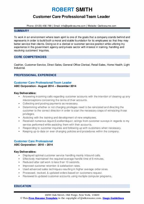 Customer Care Professional/Team Leader  Resume Template