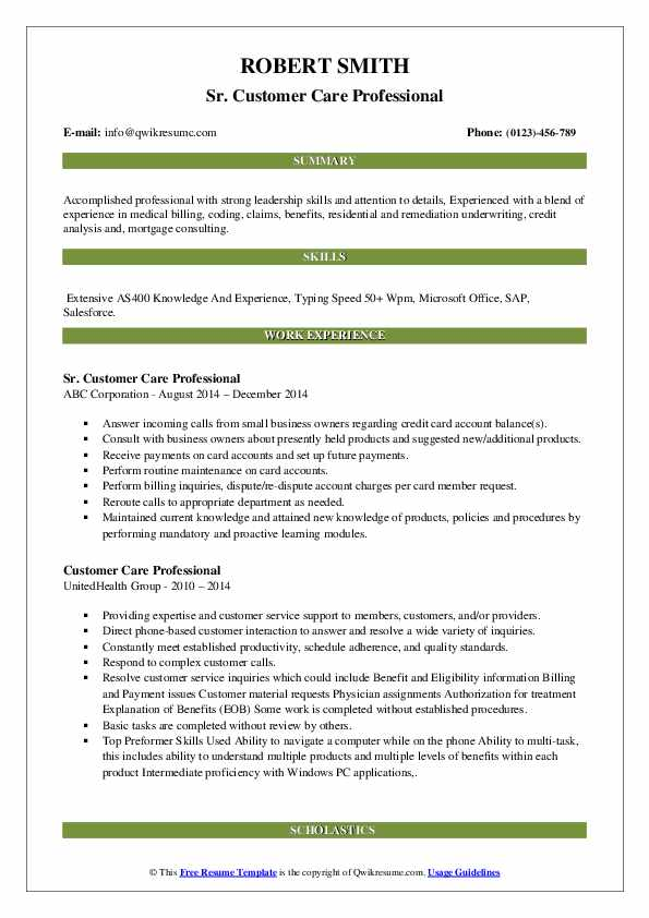 Sr. Customer Care Professional Resume Example