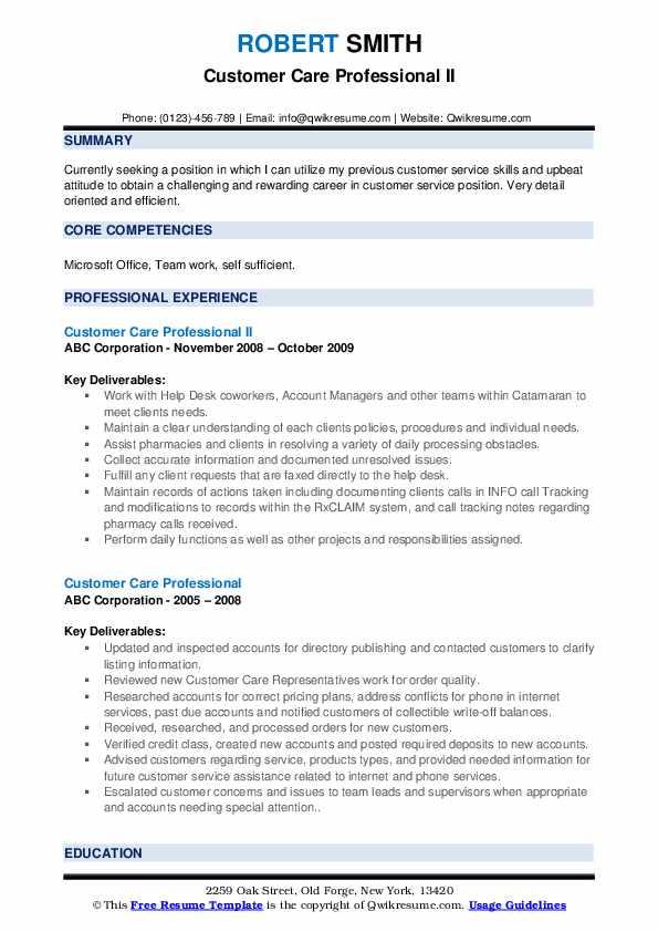 Patient Representative Resume example