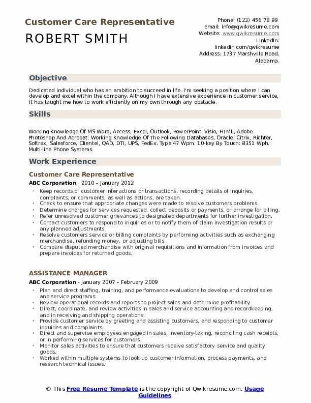 Customer Care Representative Resume Sample