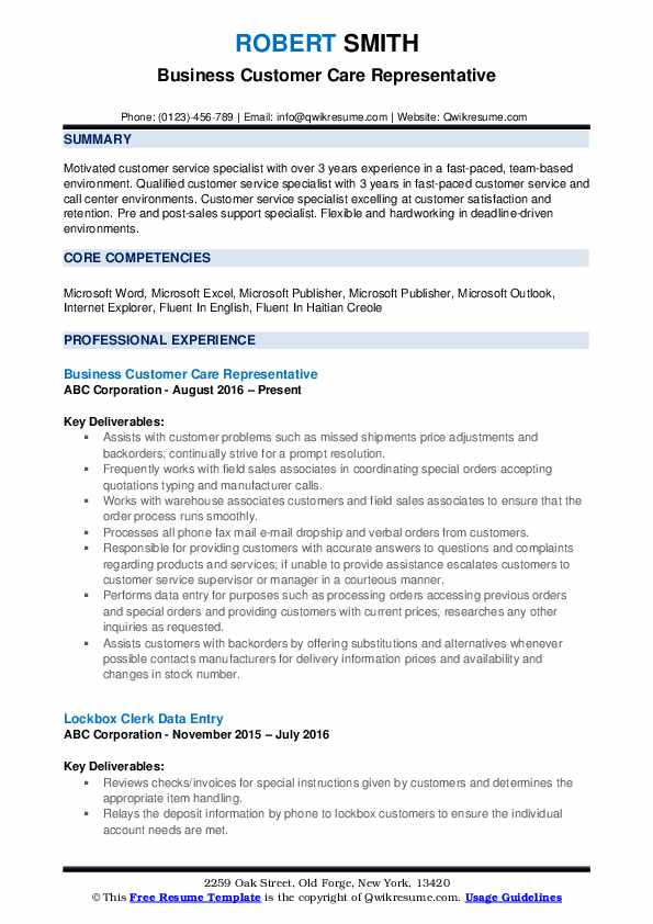 Business Customer Care Representative Resume Example