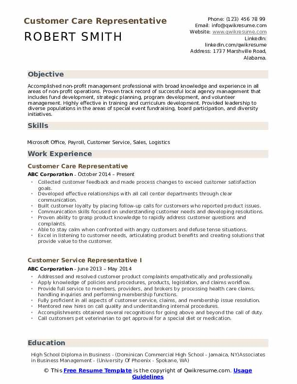 Customer Care Representative Resume example