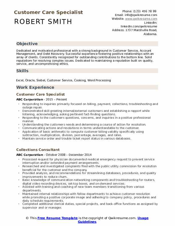 Customer Care Specialist Resume Template