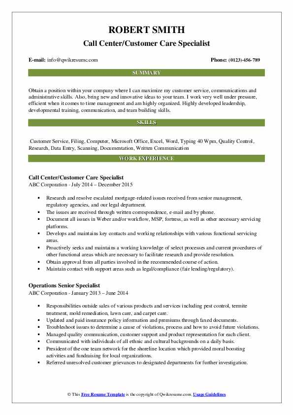 Call Center/Customer Care Specialist Resume Template
