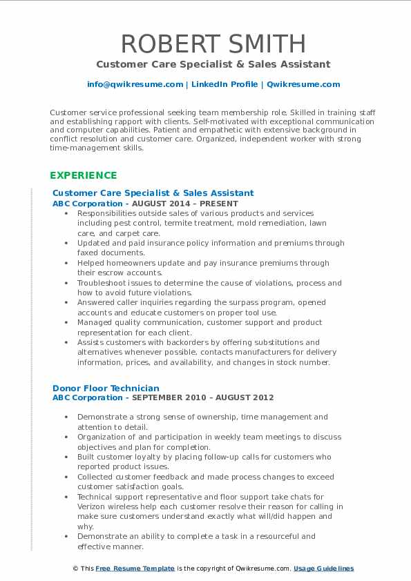 Customer Care Specialist & Sales Assistant Resume Sample