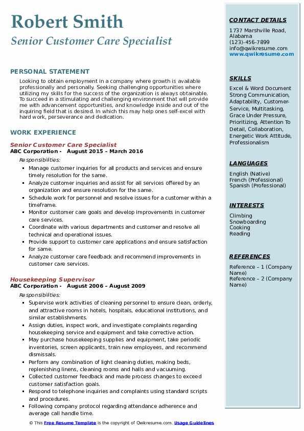 Senior Customer Care Specialist Resume Sample