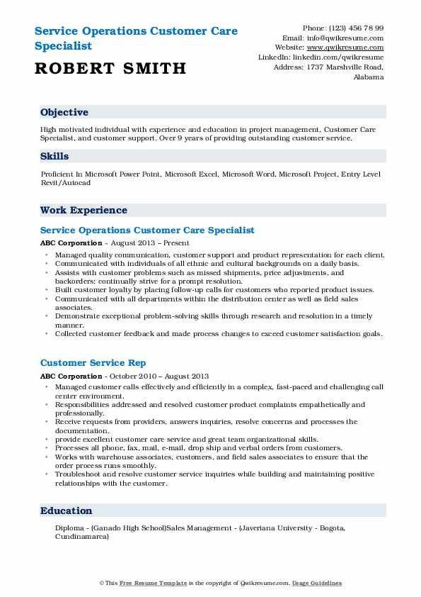 Service Operations Customer Care Specialist Resume Example