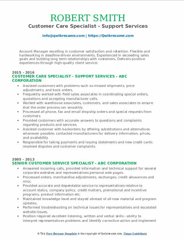 Customer Care Specialist - Support Services Resume Template