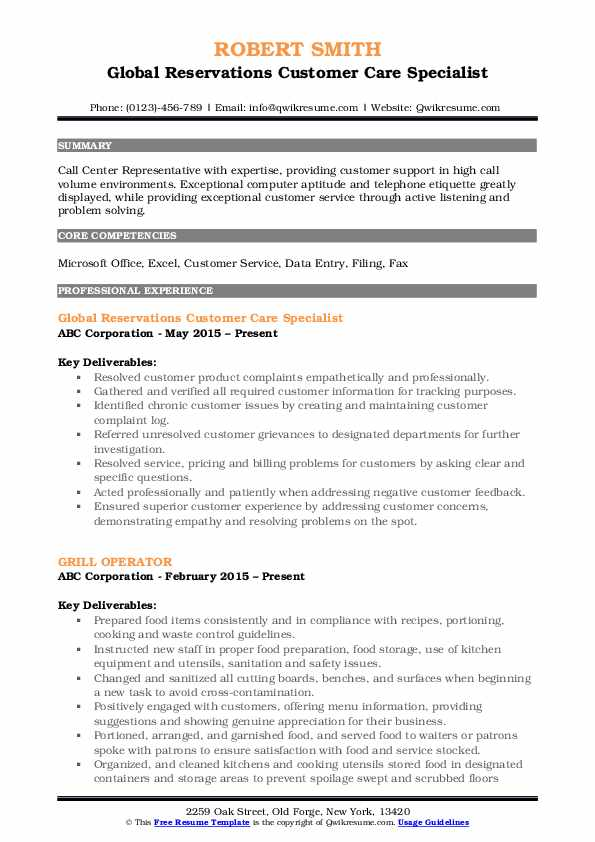 Global Reservations Customer Care Specialist Resume Model