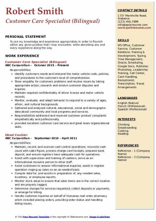 Customer Care Specialist (Bilingual) Resume Example