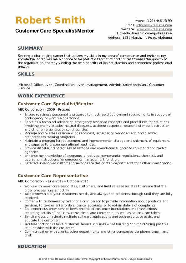 Customer Care Specialist/Mentor Resume Model