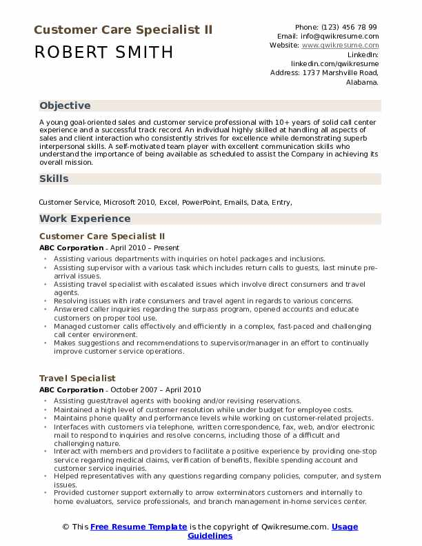 Customer Care Specialist Resume example