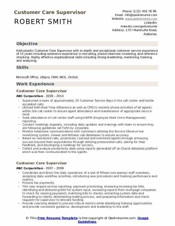 Customer Care Supervisor Resume Format