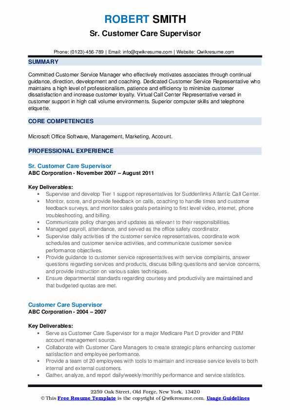 Sr. Customer Care Supervisor Resume Model