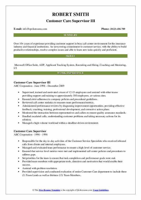 Customer Care Supervisor III Resume Sample