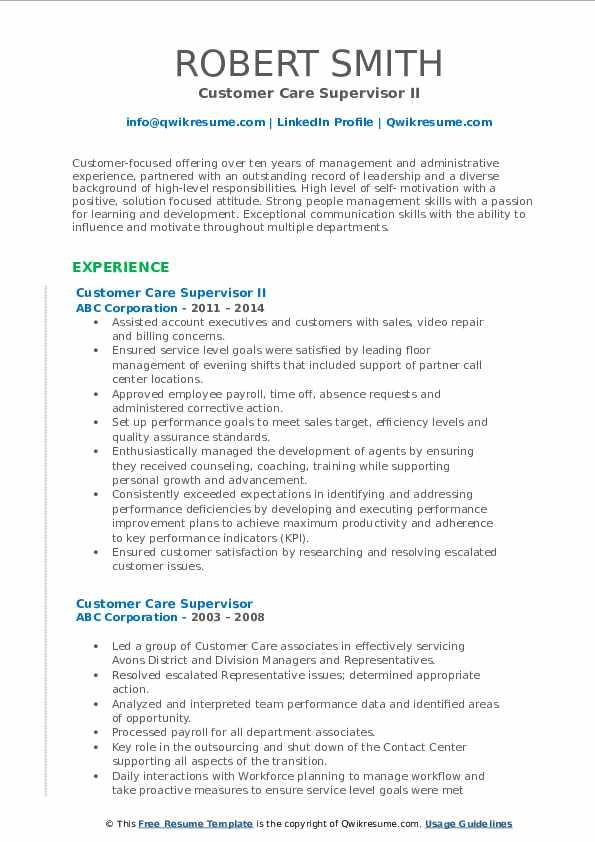Customer Care Supervisor II Resume Format