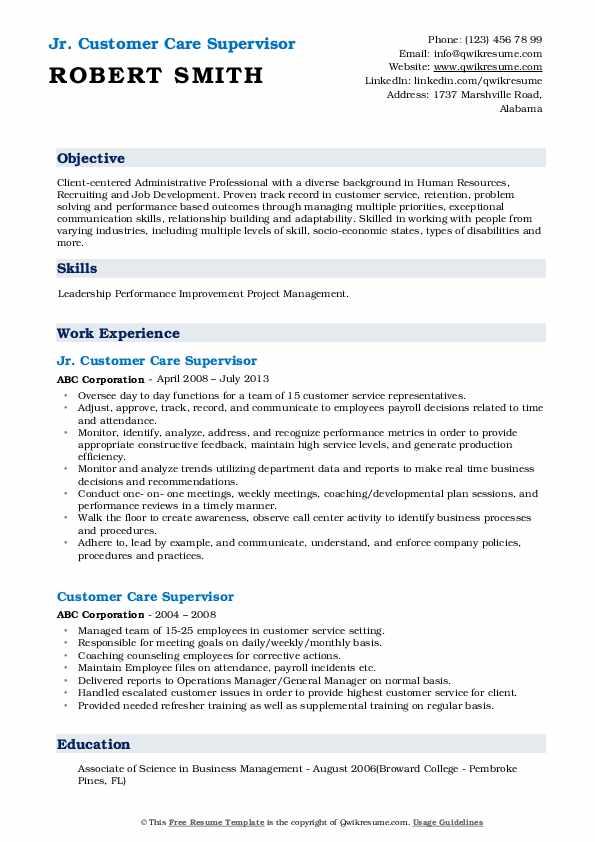 Jr. Customer Care Supervisor Resume Example