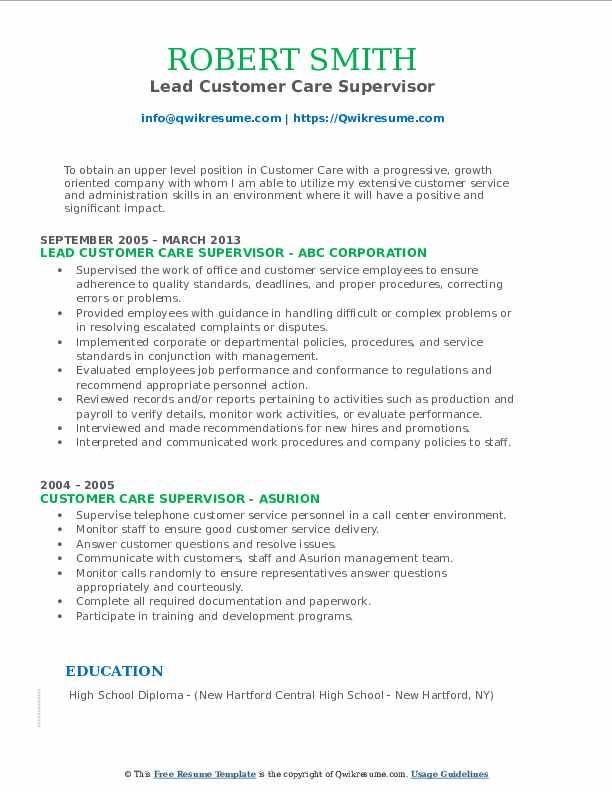 Lead Customer Care Supervisor Resume Model