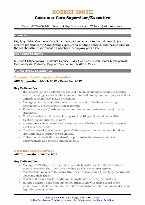 Customer Care Supervisor/Executive Resume Example